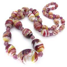 Vintage Art Deco Pink Aventurine Swirl Feathered Glass Bead Necklace | Clarice Jewellery