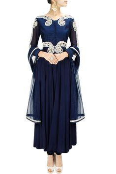 Navy blue zardozi embroidered kalidaar kurta set BY ANEESH AGARWAL.  Shop now at: www.perniaspopups...