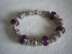 Bracelet charms style Pandora et perles Murano