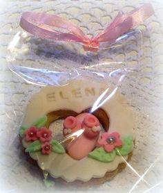 Biscotto nascita con confetto decorato