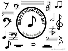 SIMPLE MUSIC CLIP ART- For those music projects, worksheets and assessments for your students! Music Education Activities, Music Worksheets, Music Clips, Piano Teaching, Elementary Music, Good Music, Clip Art, Coding, How To Plan