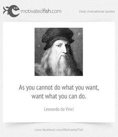 As you cannot do what you want, want what you can do. (Leonardo da Vinci)