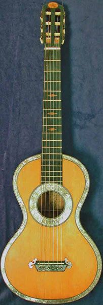 Antique Romantic Guitar by Lacote. Guess the age! From around 1800AD