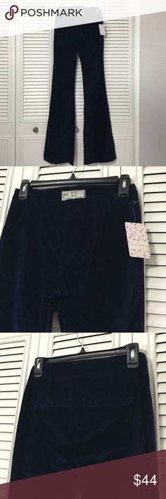 """Free People Velvet Like Pants NWT Cute Royal Blue Flare, slight stretch pants. Length is 34"""", rise is 9"""". Last photo helps see the color better! Free People Pants Boot Cut & Flare"""