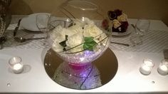 Medium Fish Bowls with Fresh Flowers and Lights