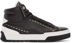 Fendi - Black Leather Studded High-Top Sneakers