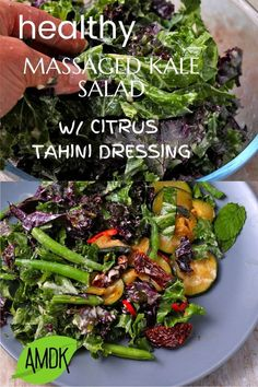 Healthy kale massaged with citrus-tahini dressing, sauteed zucchini, sundried tomatoes, lightly steamed green beans, and mint. This easy winner of a vegan summer salad is oil-free, low fat, and will… Easy Salads, Summer Salads, Whole Food Recipes, Vegan Recipes, Salad Recipes, Oven Dried Tomatoes, Massaged Kale Salad, Steamed Green Beans, Sauteed Zucchini