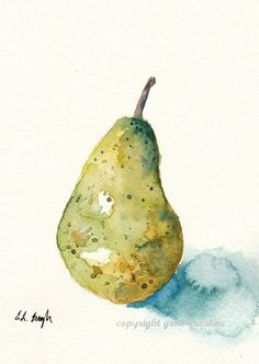 Original Watercolor Pear 5 x 7 by GrowCreative on Etsy, $25.00