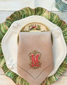 Esme Signature Colour Monogrammed Linen Napkins Table Linens