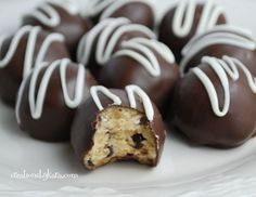 Recipe for chocolate chip cookie dough truffles dipped in chocolate. Contains no eggs!