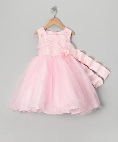 Take a look at this Lida Pink Flower Bow Dress - Toddler & Girls by Lida on #zulily today! would like in Ivory