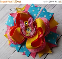 ON SALE Fluttershy Hair Bow - Hair Bow Hairbow Deluxe Boutique - Hairbows Funky Hairbow - My Little Pony