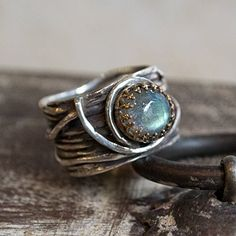 Silver gold engagement ring Labradorite wide silver band - Love Itself R2255 ** Read more  at the image link.