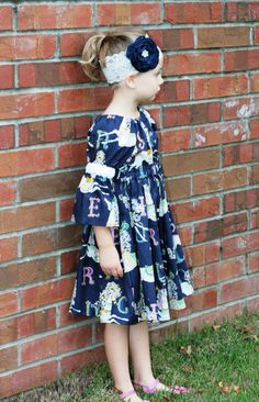 Carousel Dress - Peasant Dress - Boutique Dress - Fall Dress- Everyday Dress - Matilda Dress - Pony Dress - Navy Dress
