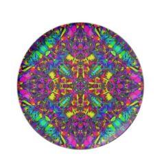 #Purple Turquiose and Yellow #Mandala Pattern Dinner Plates $28.10