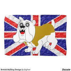 British Bulldog Design Hand Towels