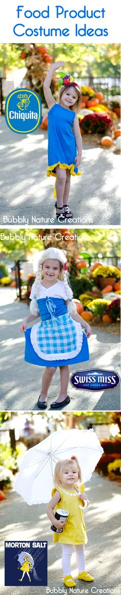 Food Product Costume Ideas. I love the little salt girl on the bottom!! I'm orally doing that with my little girl!!