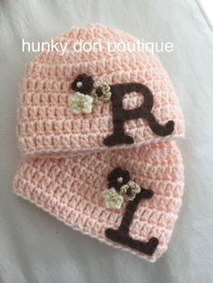 25857ca4fb3 Custom Monogramed Crocheted Twin Girl Hat Set by HunkyDoriBoutique Crochet  Baby Clothes