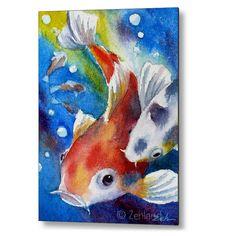Koi Fish Art Print on Wood Kids Room Decor by Janet Zeh by Zehland on Etsy https://www.etsy.com/ca/listing/184135319/koi-fish-art-print-on-wood-kids-room