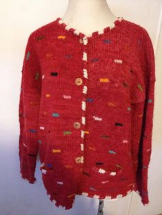 BOLIVIAN Hand Knit Sweater Cardigan Lambswool Incan Pattern Inca Bolivia 2X Red #BolivianHandknits #Cardigan #Casual