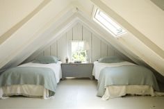A super guest room tucked under the roof eaves - cozy and inviting.