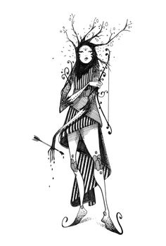 Bow and arrow by moon , via Behance Amazing Drawings, Amazing Art, Art Sketches, Art Drawings, Character Concept, Concept Art, Psy Art, Art Folder, Creepy Art
