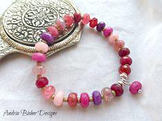 Pink stone, Czech glass bracelet, Silver metal, gemstone stretch cord, wrist jewelry.