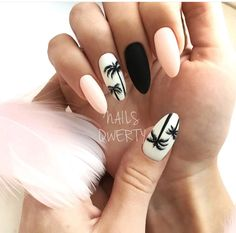 """If you're unfamiliar with nail trends and you hear the words """"coffin nails,"""" what comes to mind? It's not nails with coffins drawn on them. It's long nails with a square tip, and the look has. Cute Summer Nail Designs, Cute Summer Nails, Fun Nails, Pink Summer, Nail Summer, Summer Nails 2018, Summery Nails, Style Summer, Simple Nails"""