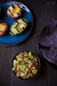 food recipes, fish tacos, party appetizers, savori simpl, avocado salsa, parti appet, grill avocado, healthy appetizers, peach salsa