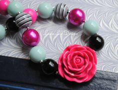 The Summer Collection Hot Pink Black and by LauraLeeDesigns108, $19.99
