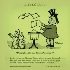 Did you know Kleenex® tissues can be MAGIC? In 1954, an actual book of magic featuring the character Little Lulu described tricks you could do with a Kleenex® tissue! We bet one of the tricks was getting your kids to use them.