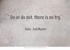 """ Do or do not, there is no try."""