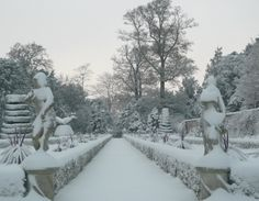 The National Trust gardens at Cliveden all covered in snow