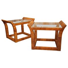 Pair of rattan and glass side tables,  Italian c. 1960 | From a unique collection of antique and modern end tables at http://www.1stdibs.com/furniture/tables/end-tables/