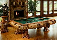 Awesome rustic timber billiard pool table