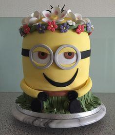 A Minion birthday cake for someone who's going to Hawaii; Aloha!