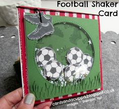 Sarah-Jane Rae cardsandacuppa: Stampin' Up! UK: Saints Football Shaker Card for a Teenage Boy Homemade Birthday Cards, Birthday Cards For Boys, Masculine Birthday Cards, Bday Cards, Masculine Cards, Homemade Cards, Soccer Cards, Football Cards, Saints Football