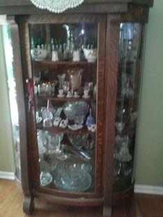 Antique Curio Cabinets Quarter Sawn Oak Curved Glass