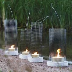 DIY: Betoniverkkolyhty Concrete Crafts, Concrete Art, Concrete Design, Concrete Candle Holders, Beton Diy, Outdoor Lighting, Outdoor Gardens, Diy And Crafts, Backyard