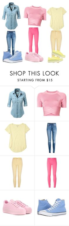 """""""Three colored triplets"""" by soccerpenguin-10 ❤ liked on Polyvore featuring beauty, LE3NO, T By Alexander Wang, Hollister Co., River Island, Love Moschino, Kenzo and Converse"""