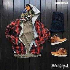 outfitgrid via menstylica: Todays top #outfitgrid is by @nciktna.  #CDG #Flannel  #Bape #Hoodie  #Ksubi #Denim  #AlexanderWang #Tee  #Visvim