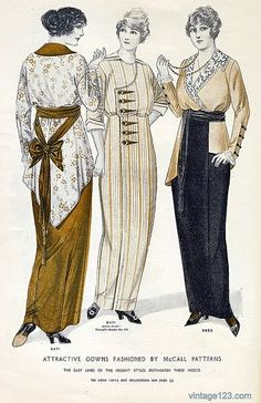 1914 fashion plate. Women wear long and slim skirts. It's too difficult to move when wearing this dress !