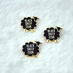 Black Sheep Club pin for all you ewe-unique folks! Shiny black & gold hard enamel pin, Perfect for your collar, jacket, bag, hat- anywhere you…