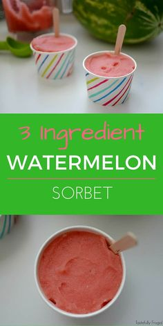 3 Ingredient Watermelon Sorbet: A Healthy, All Natural, Alternative To Ice Cream Tastefully Frugal Ice Cream Desserts, Frozen Desserts, Frozen Treats, Vegan Desserts, Dessert Recipes, Baking Desserts, Yummy Recipes, Healthy Recipes, Slushies