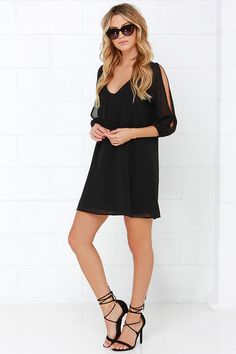 LULUS Exclusive Shifting Dears Black Long Sleeve Dress at CollectiveStyles.com