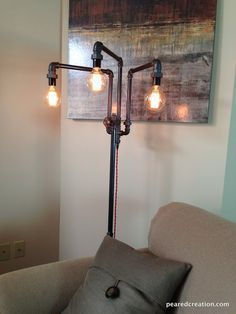Adjustable Floor Lamp Industrial Furniture Multiple Edison Bulbs Sofa Lamp is part of Industrial floor lamps - 227991747287588 This design is not UL approved but does contain some UL listed parts Industrial Floor Lamps, Vintage Industrial Furniture, Industrial Interiors, Industrial Style, Industrial Lighting, Industrial Decorating, Industrial Wallpaper, Industrial Closet, Pipe Lighting