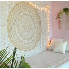 Golden Mandala Tapestry Wall Hanging Twin Size Boho Dorm Room Indian Ombre Tapestries Beach Blankets Picnic Throws Bedspread by Oussum Image 1 of 3 Tapestry Bedroom Boho, Boho Dorm Room, Dorm Room Walls, Tapestry Beach, Mandala Tapestry, Tapestry Wall Hanging, Hippie Tapestries, Wall Hangings, Bohemian Tapestry