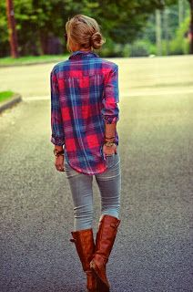 Fall outfits #boots #plaid