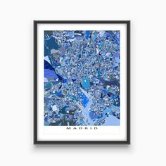 This Madrid city map has an abstract art design made from of lots of little blue shapes. Each shape is actually a city block or a piece of land - and these shapes combine like a puzzle or mosaic to form this Madrid print. #MadridMap #MadridSpain #CityMap