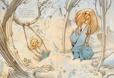 Mum's Hair (Håret Til Mamma) by Gro Dahle illustrated by Svein Nyhus. Beautiful illustrations- wish there was an English translation. Children's Book Illustration, Book Illustrations, Norway, Childrens Books, Illustrators, Brave, Book Art, Scandinavian, Hair